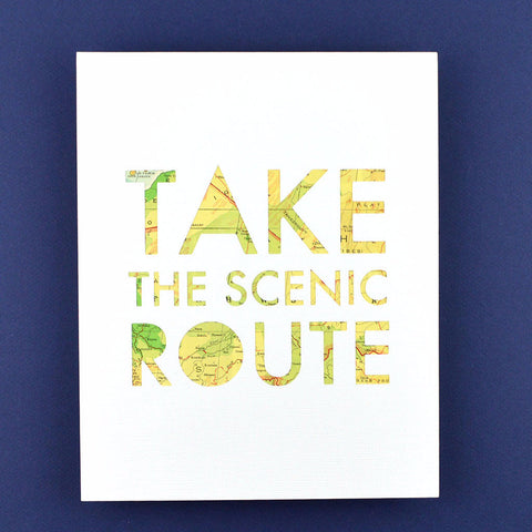 Take the Scenic Route in White with Green and Yellow Map