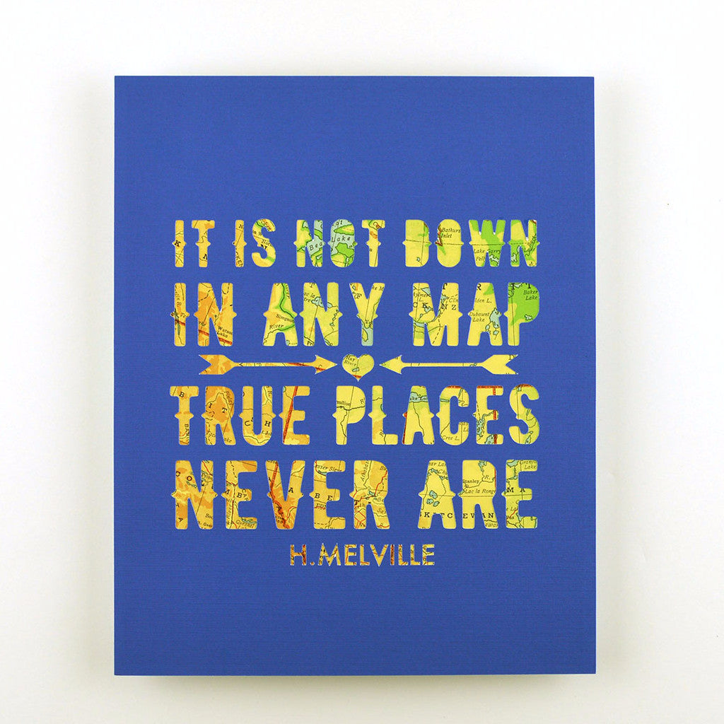 Not Down on Any Map in Royal Blue, 8x10