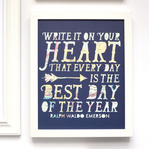 Write It On Your Heart Quote Art