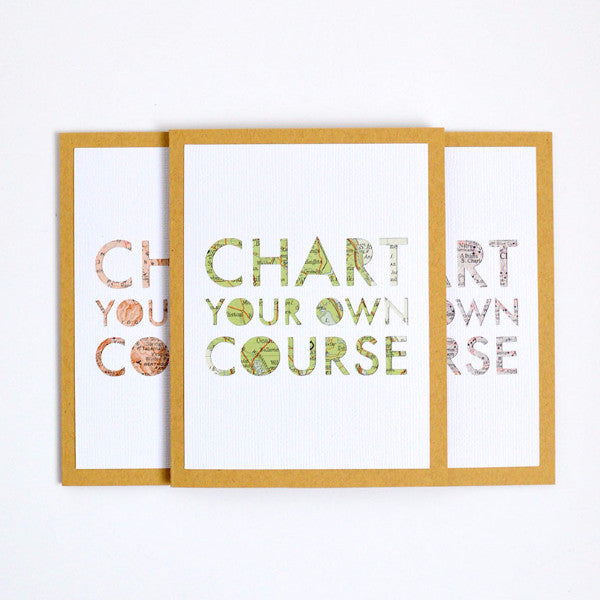 Special graduation card, Chart Your Own Course map greeting card