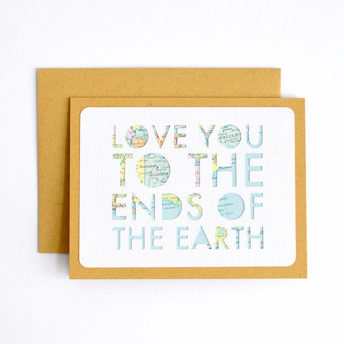 Love You to the Ends of the Earth Map Card