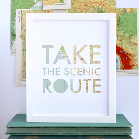 Take the Scenic Route Map Art