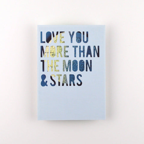 Moon and Stars in Light Blue with Yellow and Blue Moon, 5x7