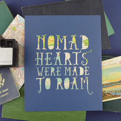 Nomad Hearts in Dark Blue with Teal Map, 8x10
