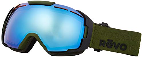 Revo Unisex RG 7007 Echo Ski & Snowboard Sport Polarized UV Protection Goggles, Military Green Frame, Blue Water Lens