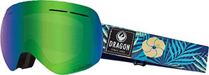 Dragon X1s Snow Goggles Aloha Lumalens Green Ion & Dark Smoke Lens + Case