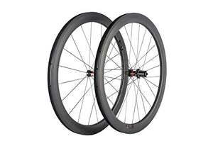 SunRise Bike 700c Carbon Road Bicycle Wheelset 50mm Clincher Tubeless Rim with 25mm Width