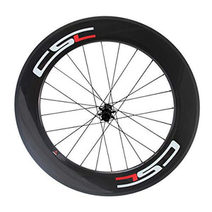 LOLTRA Road Bike Wheelset, Clincher Carbon Wheels with with FLR Ceramic Hub CN 424 Spoke(88C-25, White+Red Sticker)