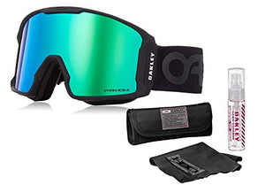 Oakley Line Miner Snow Goggle (Factory Pilot Blackout Frame/Prizm Jade Iridium Lens) with Lens Cleaning Kit