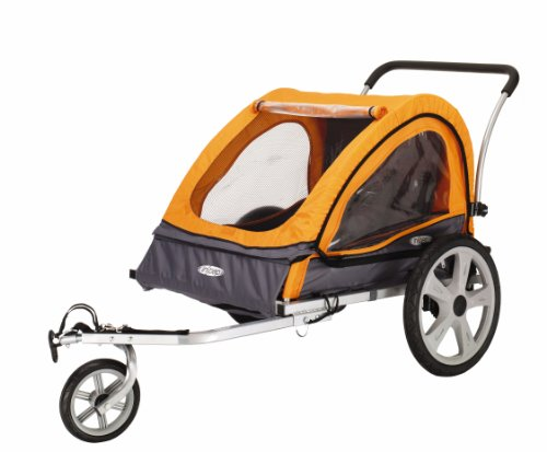 InStep Quick-N-EZ Double Seat Foldable Tow Behind Bike Trailers, Converts to Stroller/Jogger, Featuring 2-in-1 Canopy and 16-Inch Wheels, for Kids and Children, Orange