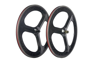 Superteam 70mm Carbon Three Tri-Spoke Wheelset 700c Road Bike Clincher Wheel