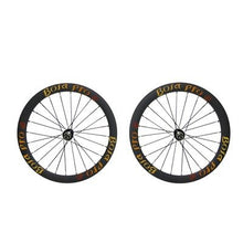 Load image into Gallery viewer, Bola Pro carbon bike wheelset,+/-0.2mm offset,Two Year Warranty,700C 45mm high 25mm wide tubular carbon rim with road disc brake hub and Sapim Cx ray 24/24 spoke for grave