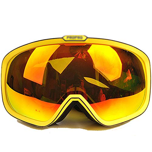Ping Bu Qing Yun Ski goggles -TPU/PC, enhanced anti-fog, anti-UV, elastic adjustable headband, can be brought into myopia, adult unisex large spherical anti-polarization outdoor climbing ski goggles S