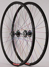 Load image into Gallery viewer, Velocity Fusion Custom Built Rims All City Track Bike Hubs Wheelset Pillar Rainbow Spokes