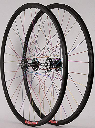 Velocity Fusion Custom Built Rims All City Track Bike Hubs Wheelset Pillar Rainbow Spokes