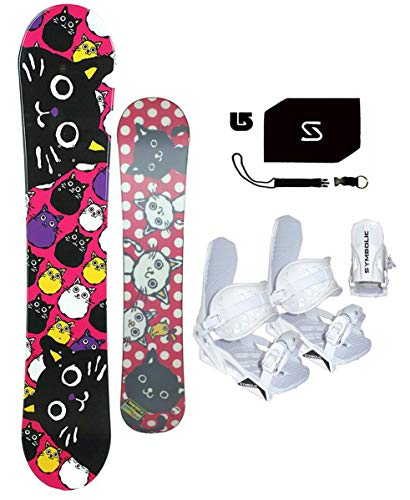 bxb 135cm Tamago Kitty Cat Snowboard +White Bindings+Leash+Stomp+ Burton Decal Package (Bindings White XS (1-6), 135cm Tamago (wf203))