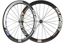 Load image into Gallery viewer, Superteam 50mm Carbon Road Bike Disc Brake Wheelset 25mm Clincher Wheel with DT350 Hub (Center Lock Hub, Thru-Axle Type Front 15×100mm Rear 12×142mm)
