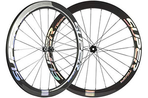 Superteam 50mm Carbon Road Bike Disc Brake Wheelset 25mm Clincher Wheel with DT350 Hub (Center Lock Hub, Thru-Axle Type Front 15×100mm Rear 12×142mm)