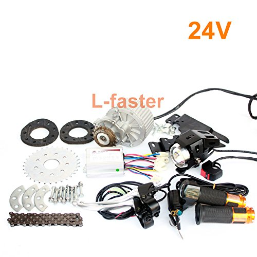 L-faster Newest 450W E-Bike Motor Kit Electric Multiple Speed Bicycle Conversion Kit Electric Engine Kit for Multi-Speed Bicycle(24V Twist Kit)