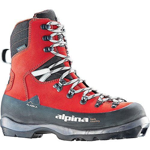 Alpina Sports Alaska Leather Backcountry Cross Country Nordic Ski Boots, Euro 39, Red