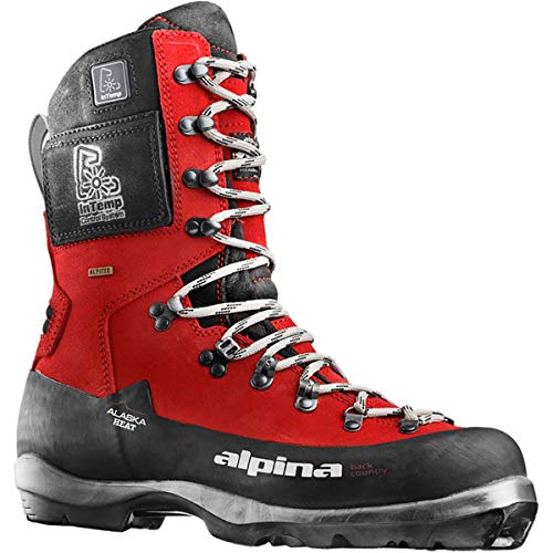 Alpina Sports Alaska Heat Heated Leather Backcountry Cross Country Nordic Ski Boots, Euro 46, Red