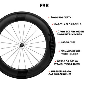 FFWD Wheels | F9R FCC DT350 | 90mm Tubeless Carbon Clincher Wheel Set DT Swiss DT350 11 Speed Black