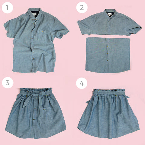 upcycled clothing mens shirt to girls skirt by Pattern and Cloth