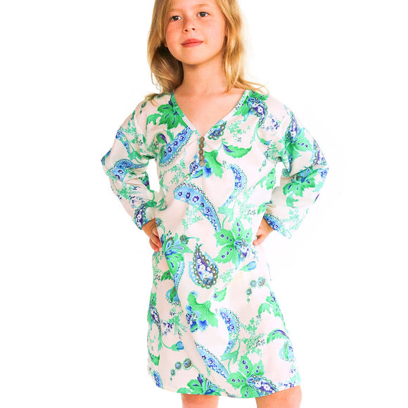 Aruba summer kaftan in lagoon natural fibre fabric made in nz by Pattern & Cloth
