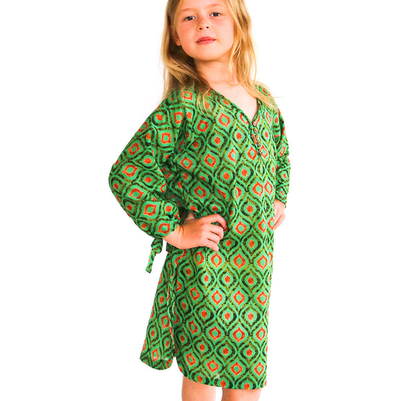 Aruba summer kaftan in rainforest natural fibre fabric made in nz by Pattern & Cloth