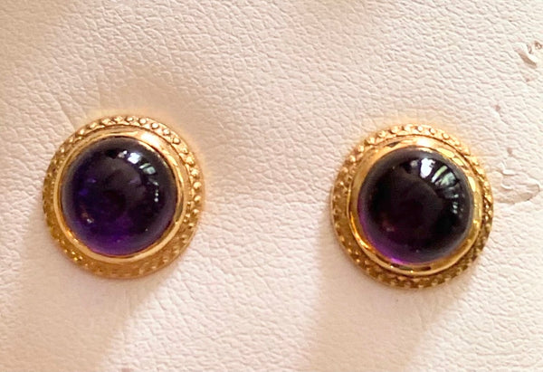 Cabochon Amethyst Studs - 14k Gold, Bezel Set Dots on Edge