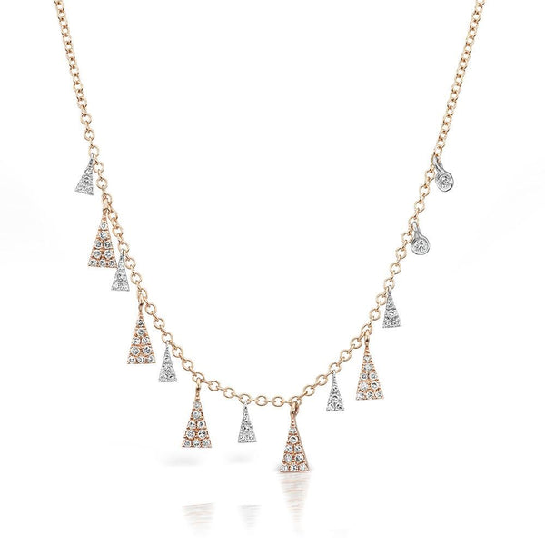 Meira Adjustable 14K Rose Gold Chain with Floating Geometric Diamond Drops