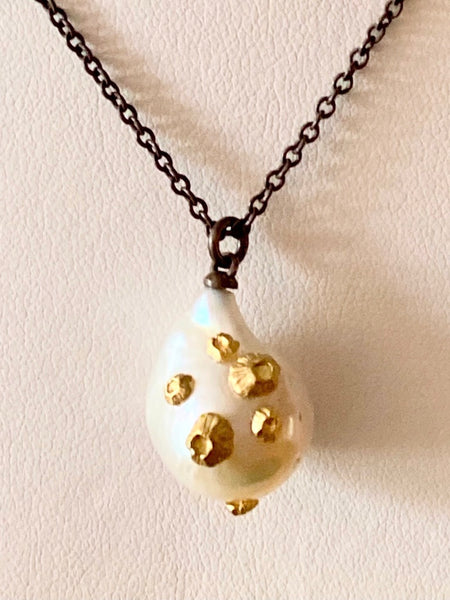 Long Pearl Necklace with 14k Gold Barnacles, 32 inch chain