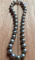 Tahitian Pearl Necklace - Light Grey, White Gold Diamond Clasp, 18in