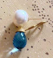 Round Pearls with Blue Topaz Drop Earrings - 14K Gold