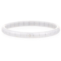 Roberto Demeglio 18K White Gold & Matte White Ceramic Pura Stretch Bracelet with Single Diamond Bezels