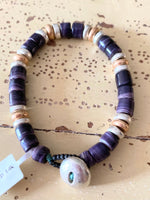 Wampum Bracelet With Silver Clasp and Silver & Gold Beads