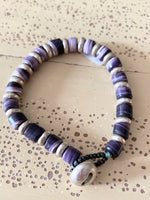 Wampum Bracelet With Silver Beads & Clasp