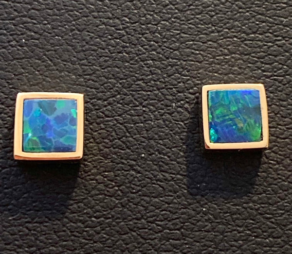 Square Opal Stud Earrings - 14k Gold