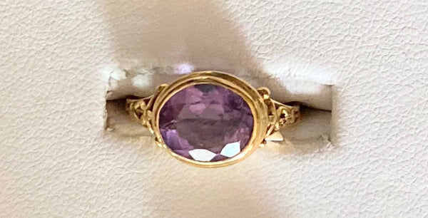 14k Gold Ring with Bezel Set Amethyst - size 7