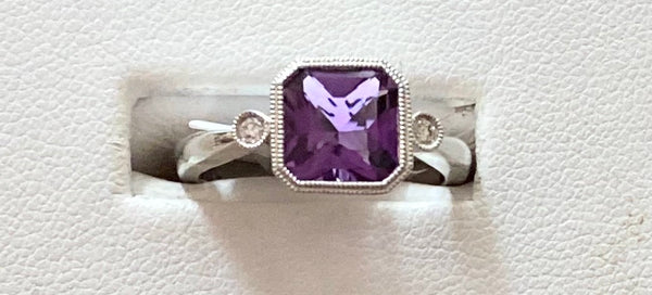 14k White Gold Ring - Amethyst, Diamond - size 6.5
