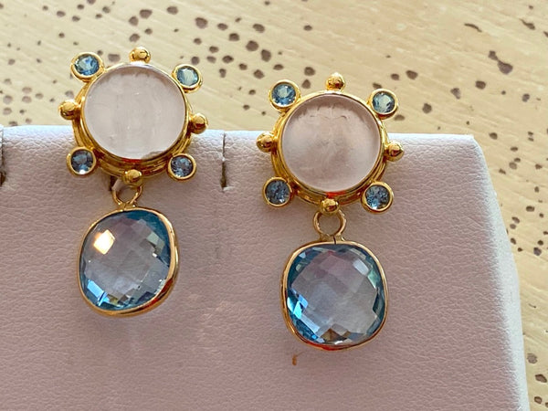 Carved White Vincian Glass Gold Earrings with removable Enhancers