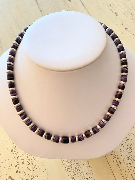 Wampum Necklace with Silver Beads, 6-7mm 18in