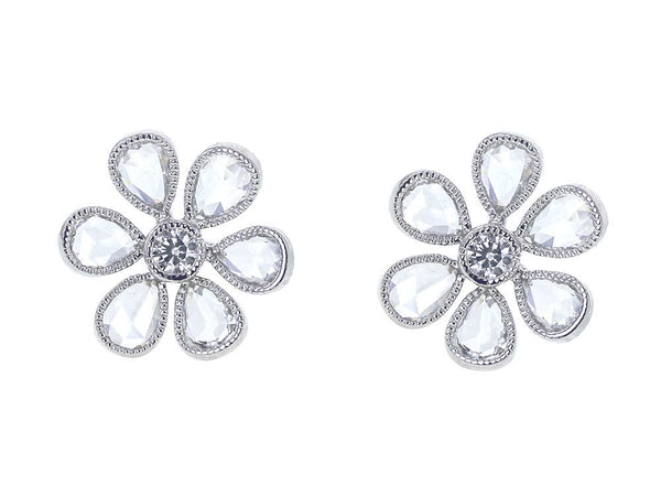 Platinum Flower Stud Earrings