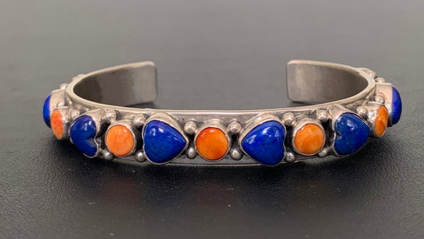Spiny Oyster and Lapis Sterling Silver Cuff