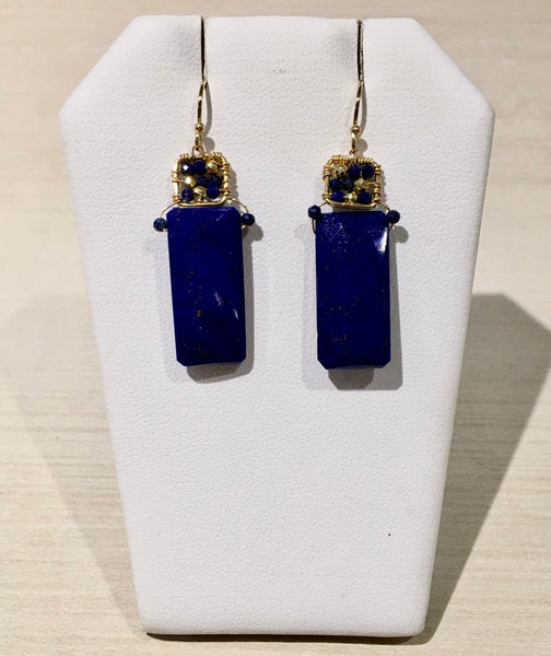 Lapis Faceted Rectangular Wire Wrapped Square - Earrings