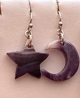 Wampum Moon & Star Earrings - Sterling Silver Earwire