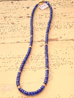 Beaded Faceted Sapphire Necklace with Gold Beads