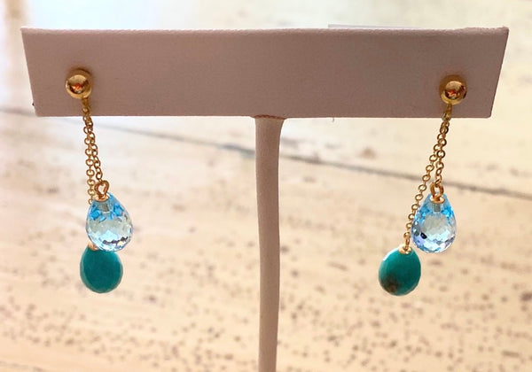Chain Dangle Earrings - Blue Topaz, Turquoise