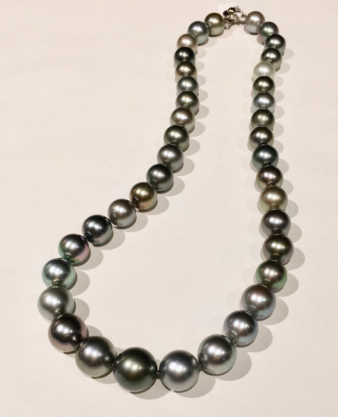 Tahitian Pearl Necklace - Multicolor, 9-11mm 18in