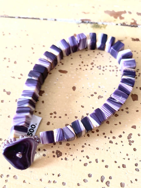 Wampum Bracelet Rectangular Beads & Heart Clasp